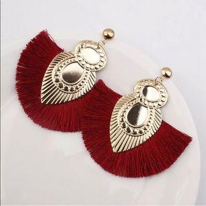 ✅🌹6 For $50 Bohemian Fringe Tassels Fan Earrings.